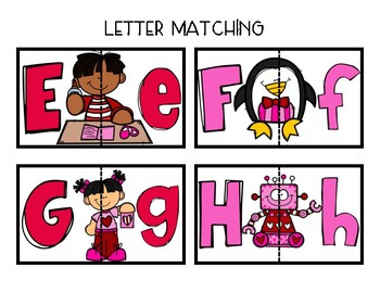 Upper and Lowercase Letter Match: Valentines Day