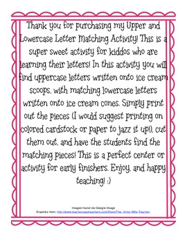 Letter Matching Ice Cream Cone Activity