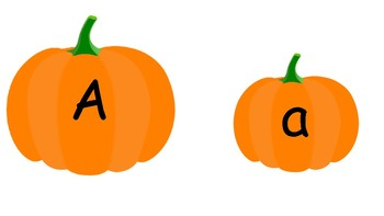 Upper and Lowercase Letter Pumpkin Match Plus Beginning Sound Pictures