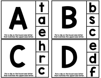 Upper and Lowercase Letter Task Cards
