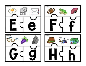 Upper and Lowercase Matching Phonics Puzzles