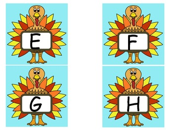 Upper and Lowercase TURKEY Alphabet Flashcards