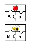 Upper and lower case letter with beginning sound puzzles