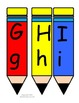 Upper and lowercase letters on colorful pencils