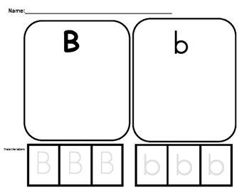 Upper and lowercase sorting activity. Letters A,B,D