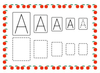 Upper case vowels writing practice - big to small