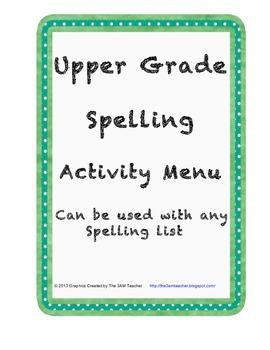 Upper grade spelling activities menu