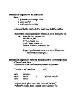 Upper level Spanish :subjunctive review