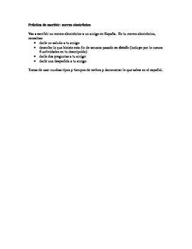 Upper level/AP Spanish email writing prompt
