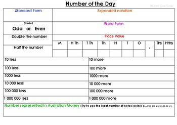 Upper primary Number of the day activity (Free)