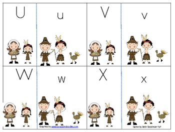 Upper/Lower Case Letter Match Thanksgiving Game