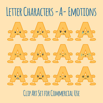 Uppercase A Letter Characters Clip Art Set for Commercial Use