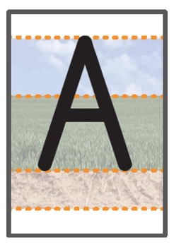 Uppercase A-Z A6 sized flashcards sky/grass/ground