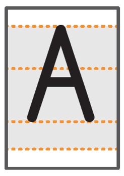 Uppercase A-Z A6 sized flashcards with writing guide
