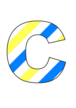 Uppercase A-Z Blue/white/yellow letters.