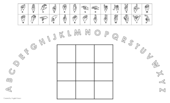 Uppercase Alphabet Arc Mat with American Sign Language and 3x3 Boxes