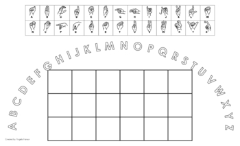 Uppercase Alphabet Arc Mat with American Sign Language and 6x3 Boxes