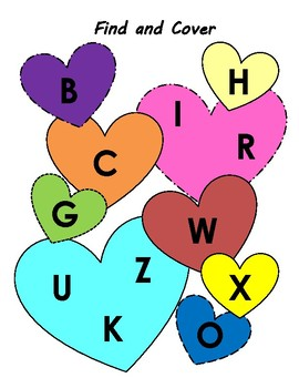 Uppercase Alphabet Find & Cover for Valentine's Day