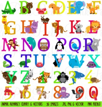 Uppercase Animal Alphabet Clipart Clip Art - Commercial and Personal Use
