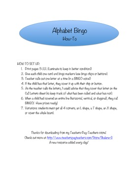 Uppercase Alphabet Bingo - 20 Cards!