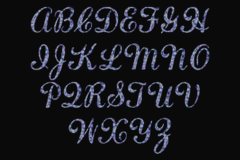 Uppercase Blue And Purple Glitter Alphabet