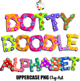 Uppercase Dotty Doodle Alphabet ClipArt Characters