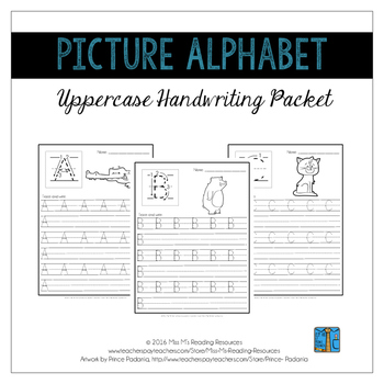 Uppercase Handwriting Pages {Picture Alphabet}