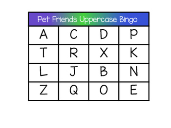 Uppercase Letter Bingo: Pet Friends