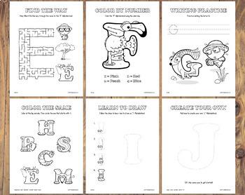 FREE SAMPLE – Mixed Alphabet Activity Worksheets – Alphabetimals Printables
