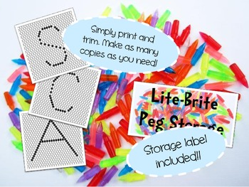 Uppercase Letter Lite Brite Pages with Label