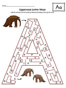 Uppercase Letter Maze Activity Set {COLOR+BW}