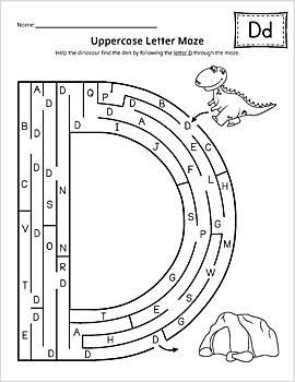 Uppercase Letter Maze Activity Set {BW}