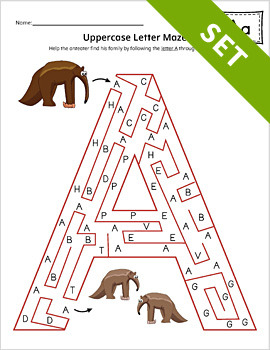 Uppercase Letter Maze Activity Set Color By My Teaching