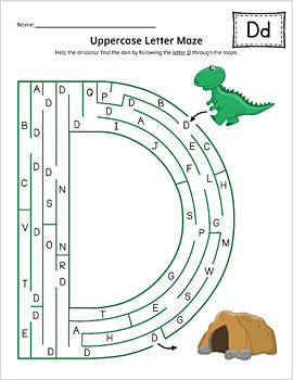 Uppercase Letter Maze Activity Set {COLOR}