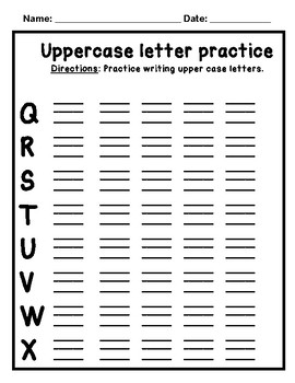 Uppercase Letter Practice Writing