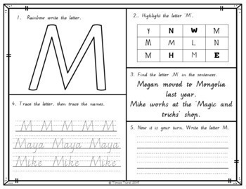 Uppercase Letter Practice with Names - Victorian Modern Cursive Font