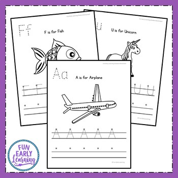 Uppercase Letter Worksheets with Guided Lessons (2 Writing Lines)