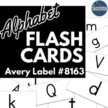 "Uppercase & Lowercase Alphabet Flash Cards: Print on Avery Label #8163 (2""x 4"")"