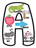 Uppercase & Lowercase Alphabet Letters Posters Black & White Anchor Chart
