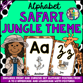 Uppercase & Lowercase Alphabet Posters Safari Jungle Theme BACK TO SCHOOL