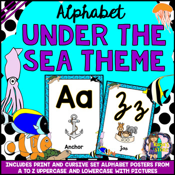 Uppercase & Lowercase Alphabet Posters Under the Sea Theme BACK TO SCHOOL