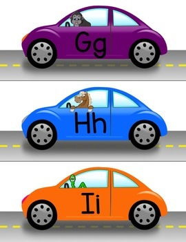 Uppercase & Lowercase Letter Car Match Learning Center Activity Game PreK