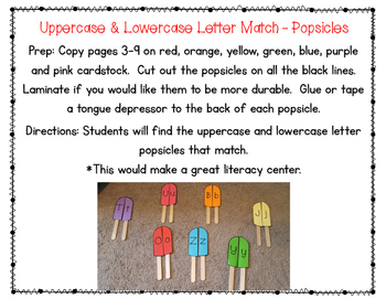 Uppercase & Lowercase Letter Match-Popsicles