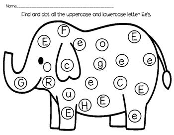 Uppercase / Lowercase Letter Recognition Dab-A-Dot Worksheets