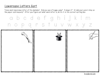 Uppercase & Lowercase Letter Trace and Sort Worksheets