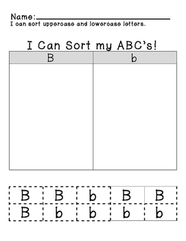 Uppercase/Lowercase Sorting Aa-Zz FREEBIE