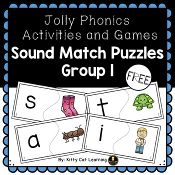Uppercase/Lowercase and Beginning Sound Match Puzzles (Jolly Phonics - Group 1)
