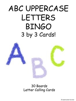 Uppercase alphabet 3 by 3 BINGO!