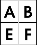 Uppercase alphabet, numbers, and shapes flashcards