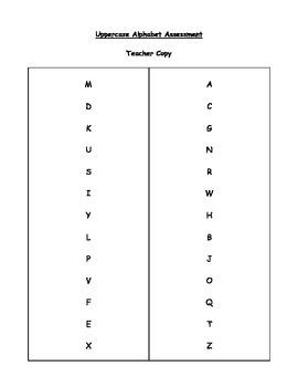 Uppercase and Lowercase Alphabet Letter Assessment